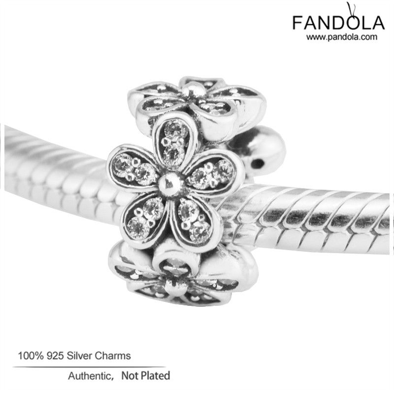 Diy Spacer Beads 925 Sterling Silver Dazzling Daisies Charms Beads for Jewelry Making Fits Pandulaso Bracelets