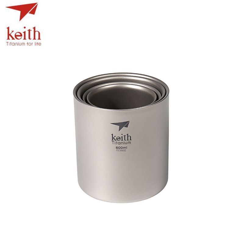 Keith 4Pcs/Set Double Wall Titanium Water Mug Cup Sets Drinkware Insulated Camping Cups Ti3501 220ml 300ml 450ml 600ml