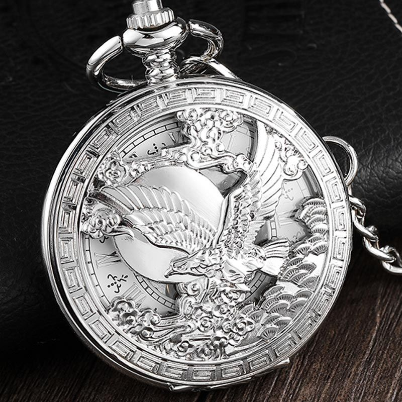 Full Silver Large Eagle Steampunk Luxury Mechanical Pocket Watch Men Vintage Hollow Skeleton Watch Fob Clock Male Unisex Watch