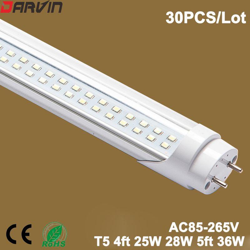 Lumière LED T8 Tube Fluorescent 4ft Double ligne Split lampe Tube LED en plastique 1200mm 25 W 28 W 5ft 1500mm 36 W AC100-277V entrée