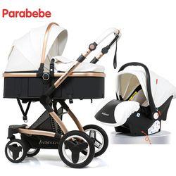 14 KG De Luxe Bébé Poussette 3 En 1 Nouveau Cuir Poussette Bébé Siège de voiture Pour Enfant Infantile Tricycle Landau de Bébé Pour Nouveau-Né Bébé chariot
