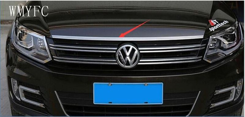 Stainless Steel Front Bonnet Machine Cover Molding Trim 1pcs Fit For VW Volkswagen tiguan 2010 2011 2012 2013 2014 2015 2016
