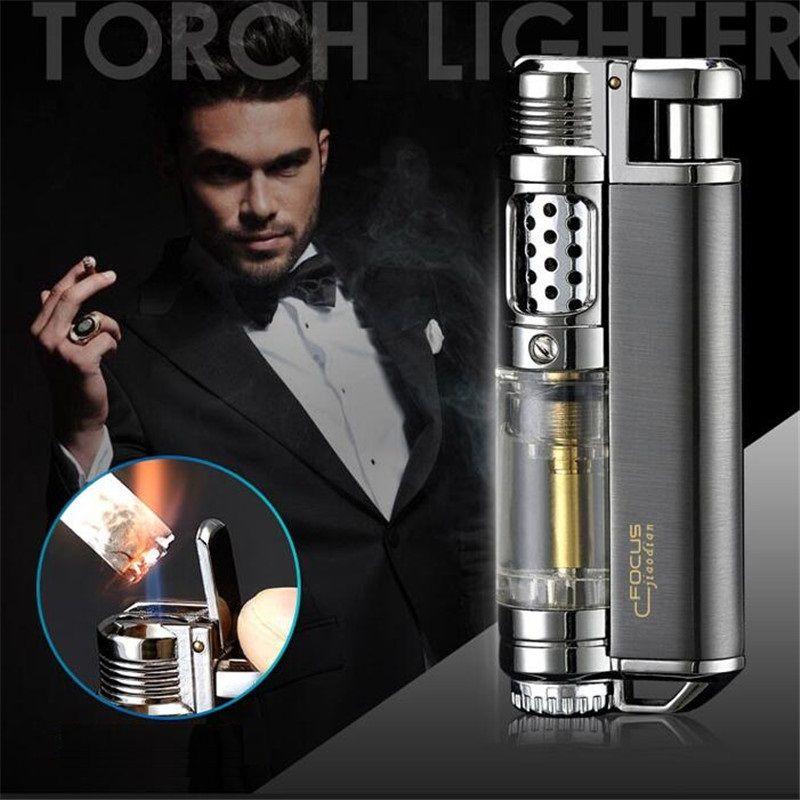 FOCUS Luxury Flame Jet Cigar Lighter Inflatable Butane Gas Lighter Windproof Torch Lighter Spray Gun Metal Cigarette Lighter