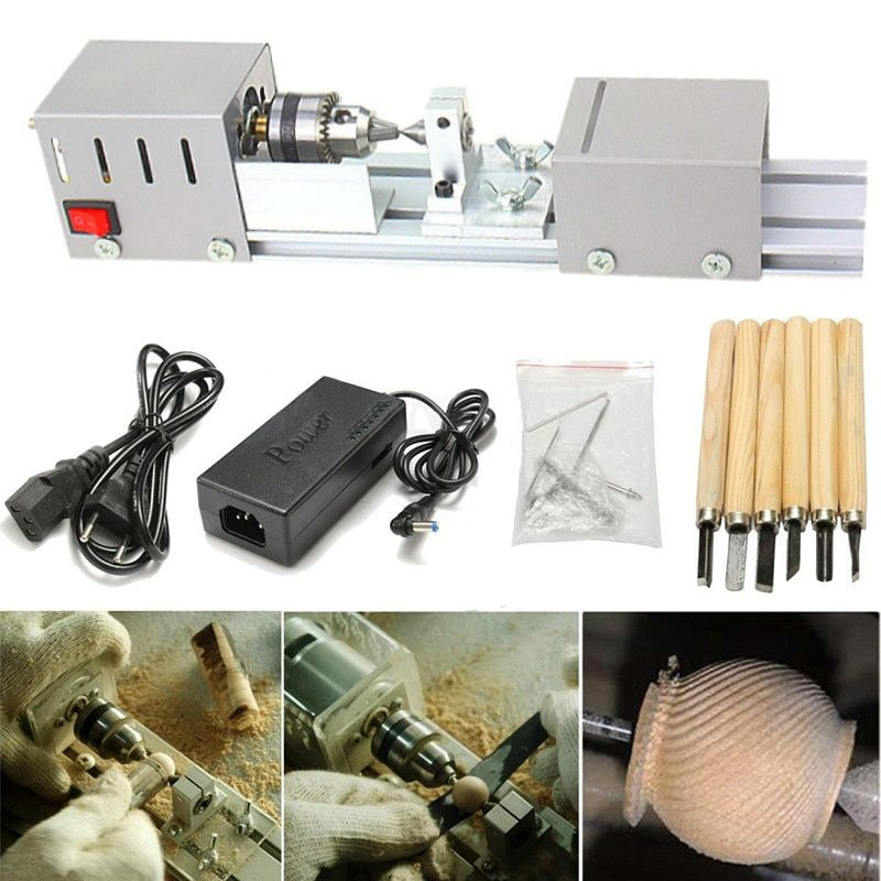Mini Lathe Machine Wood Lathe Drill Rotary Beads Machine Polisher Table polishing Cutting 7 speed adjustment Woodworking Tools