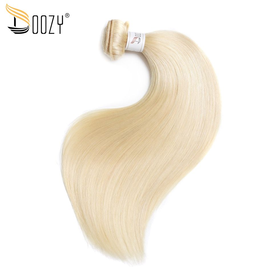 Doozy Color 613 Russian Blonde Remy <font><b>Human</b></font> Hair 1 Bundle Double Weft Hair Extensions Straight Brazilian Hair Weave