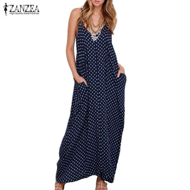 ZANZEA 2019 robe d'été femmes robe sans bretelles à pois lâche longue Maxi robe de plage décontracté Vestidos grande taille XS-4XL