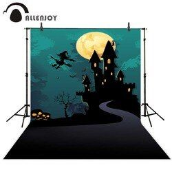 Allenjoy Halloween Castle Night Moon Witch Road Skeleton Backgrounds for photographing fond studio photo