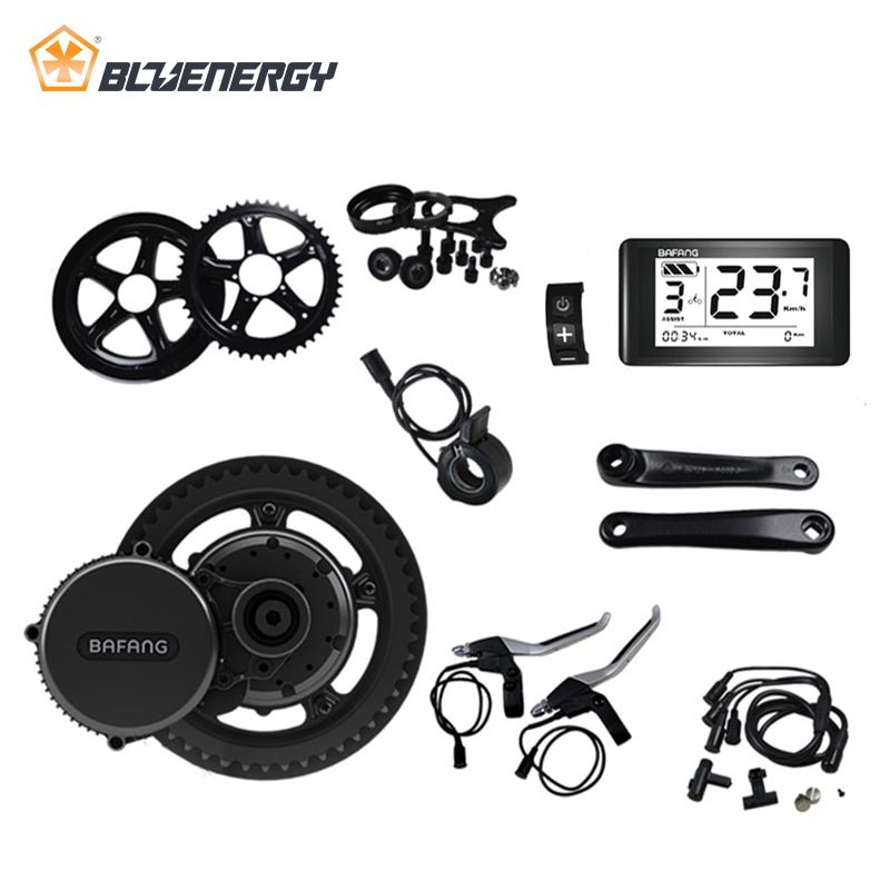 8fun bafang 48V 750W BBS BBS02 BBS02B Mid Drive Motor Ebike Conversion Kits For Electric Bike Middle Engine Kit With Display
