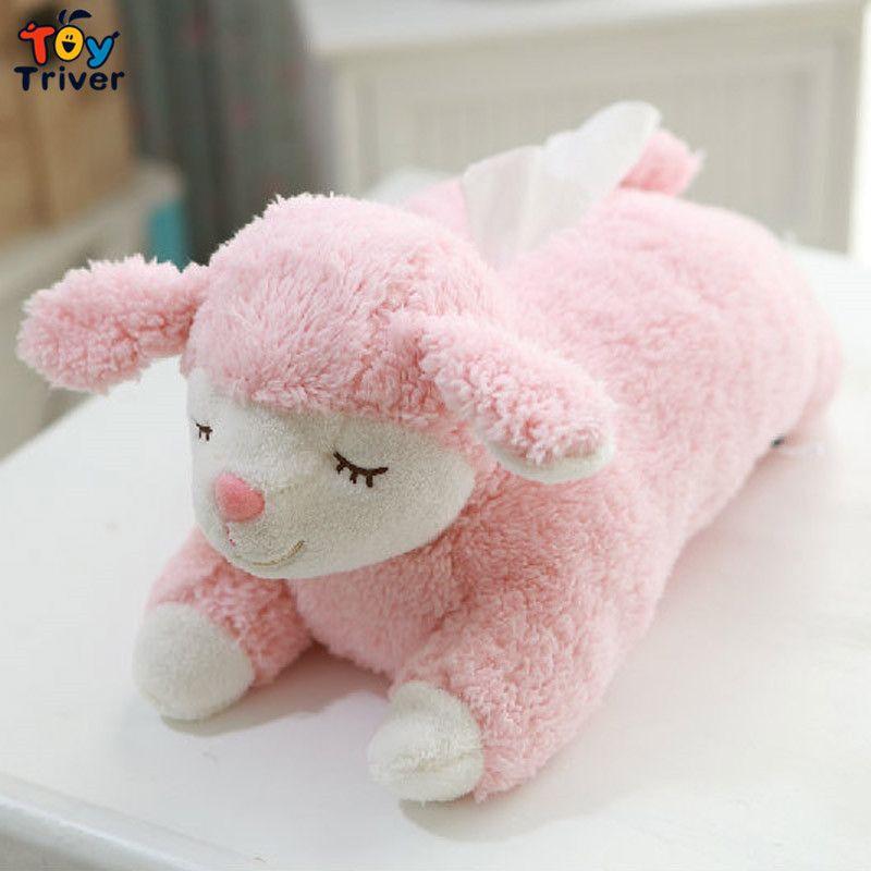 40 cm Kawaii peluche mouton agneau jouet peluche Animal poupée boite à mouchoirs serviette porte-papier maison boutique bureau voiture décoration Triver