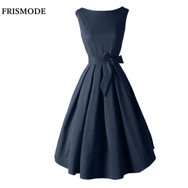Rouge Noir Audrey Hepburn Style 1950 s rockabilly Robe 2018 Nouvelle Robe D'été Sans Manches Bow Sash Femmes Vintage Rétro Robes