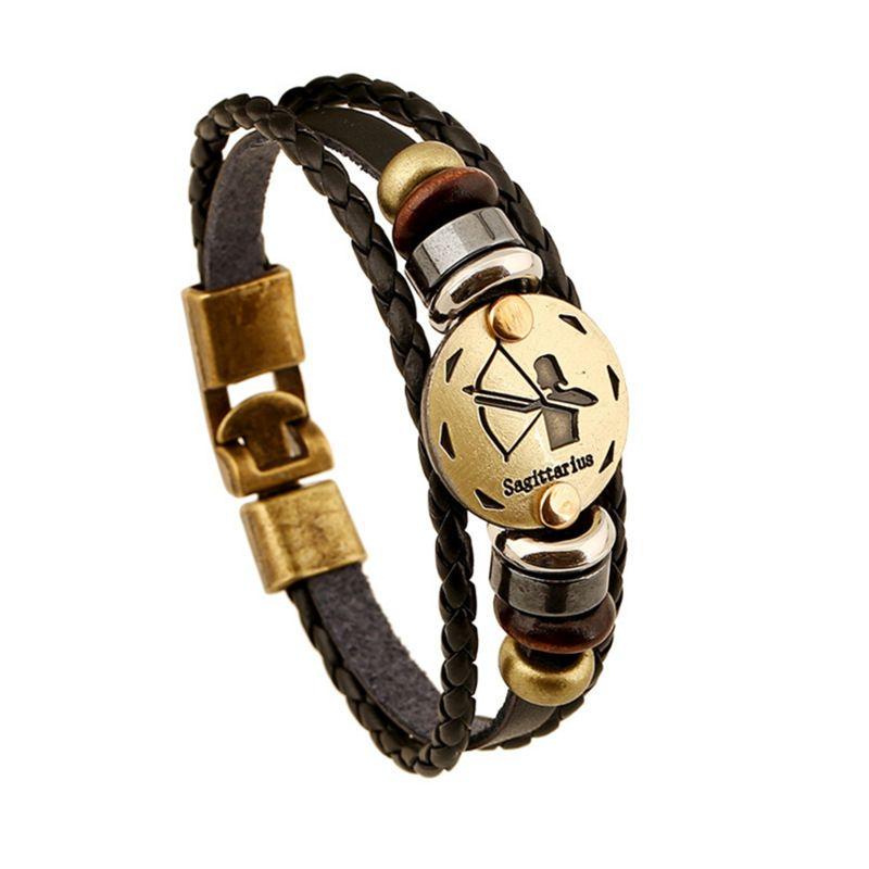Fashionable Bronze Alloy Buckles Zodiac Signs Bracelet Punk Leather Bracelet Wooden Bead & Black Hematite Lover Charm Jewelry