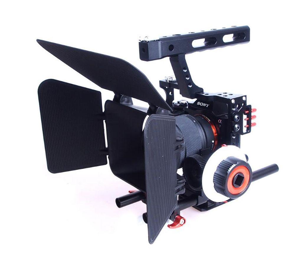 15mm Rod Rig DSLR Caméra Vidéo Stabilisateur Cage + Follow Focus + Mat boîte pour Sony A7 A7S A7RII A6300 A6000/GH4 GH3/EOS M5 M3