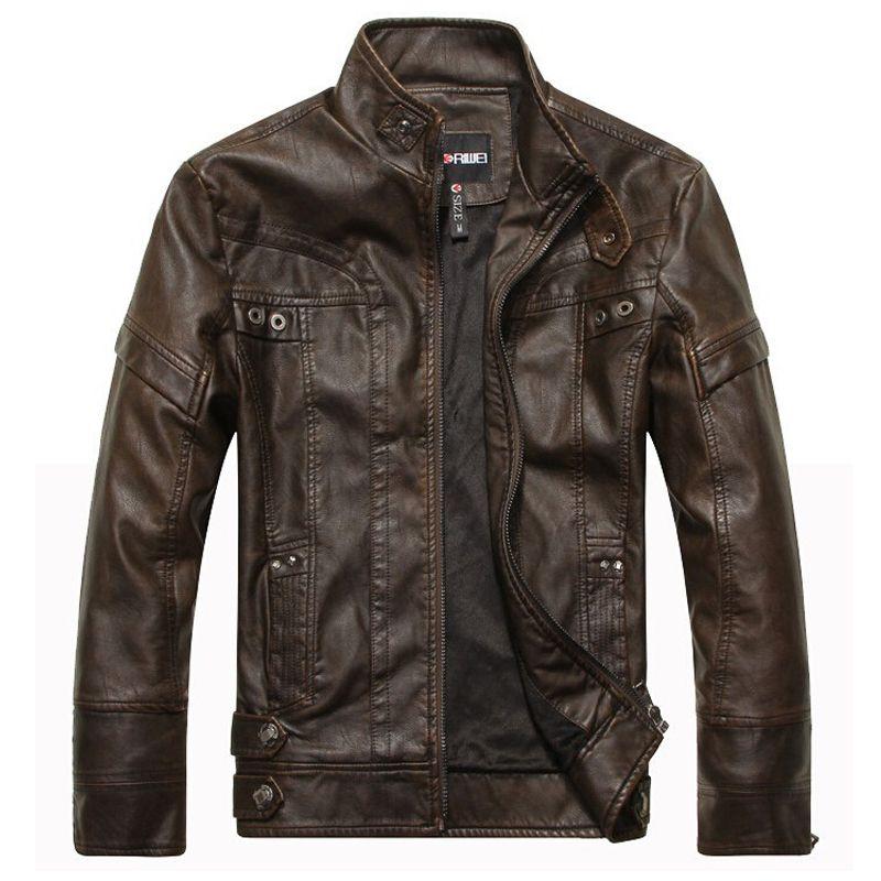 Фирменная Новинка мотоциклетные кожаные куртки мужские jaqueta de couro masculina куртка-бомбер кожаная куртка Inverno couro мужские Стенд воротник куртки