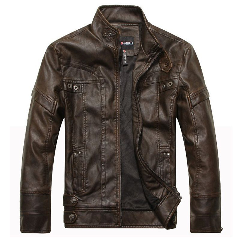 Brand New motorcycle leather jackets men jaqueta de couro masculina Bomber leather jacket Inverno Couro mens Stand Collar jacket