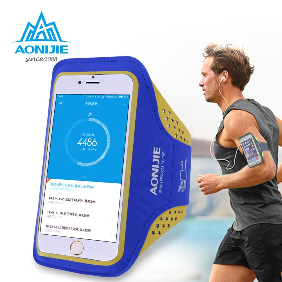 AONIJIE Outdoor Ultra Light Sport Running Bag Transparent Phone Case Cycling Arm Band Bag for 4.7