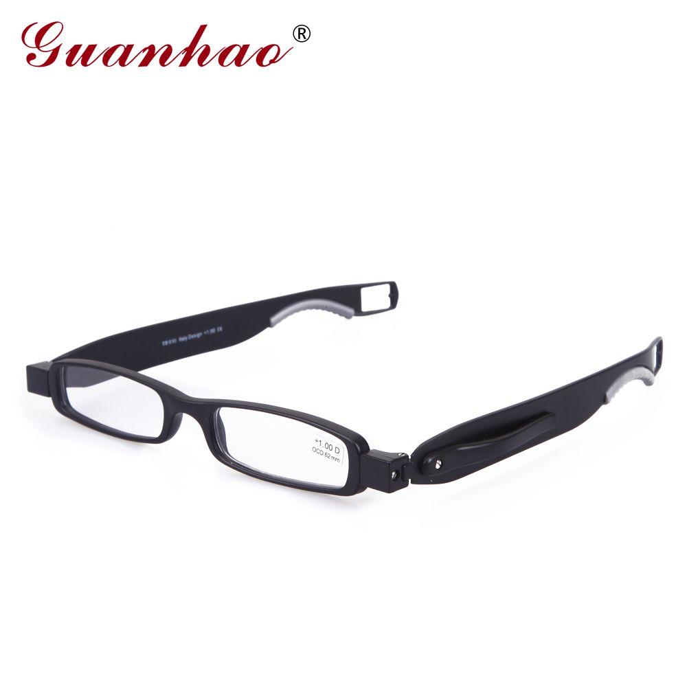 Guanhao Brand Designer Folding Reading Glasses <font><b>Rotate</b></font> 360 Degrees TR90 Frame Men Women Retro Reading Glasses 1.0 1.5 2.0 2.5