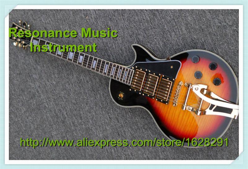 Custom Shop LP Electric Guitar 3 Pickups Gold Bigspy Tremolo Vintage Sunburst