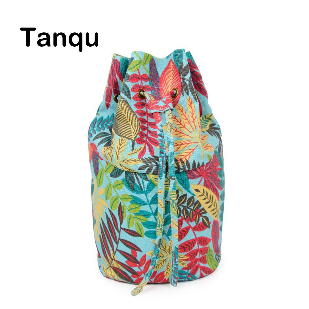 Tanqu New Floral Drawstring with Buckle Canvas Fabric Inner Pocket Lining for Obasket Obag Handbag Insert for O Basket O Bag