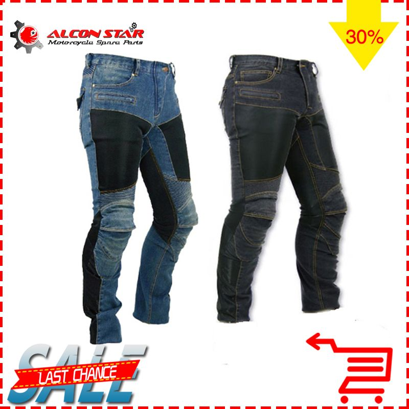 Alconstar- motorcycle PK-719 men pants off-road cafe racer women trousers outdoor men jean cycling with kneepad pad pant