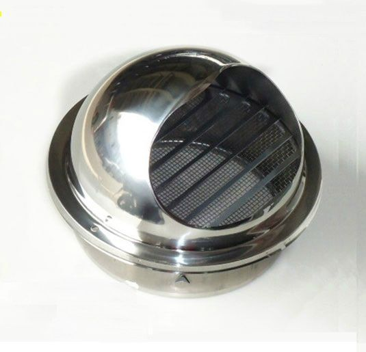 Premintehdw High Polish Stainless Steel Wall Air Vent Bull Nose Bathroom Extractor Outlet Grille Louvres