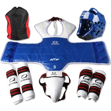 Adult Kids Child Tae kwon do Thickening WTF Taekwondo Protection 6pcs/set Chest Protector Karate Helmet Arm & Shin Guard