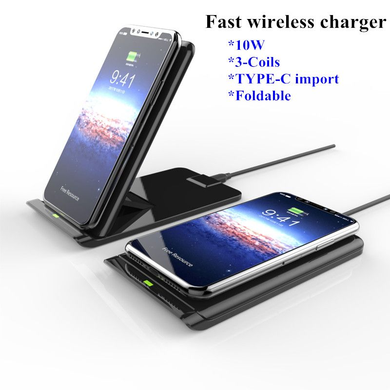 Fast Wireless Charger Pad For iPhone 8 Plus X 10W Foldable 2 Coils Qi Wireless Charging For Samsung Galaxy S8 Plus Note 8 S7 S6