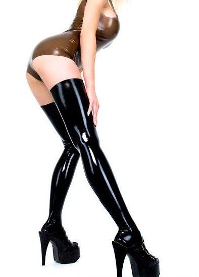 HOT Sexy Night Club Latex Stockings Faux Leather Stockings Women Black Red BlueFaux Leather Stockings