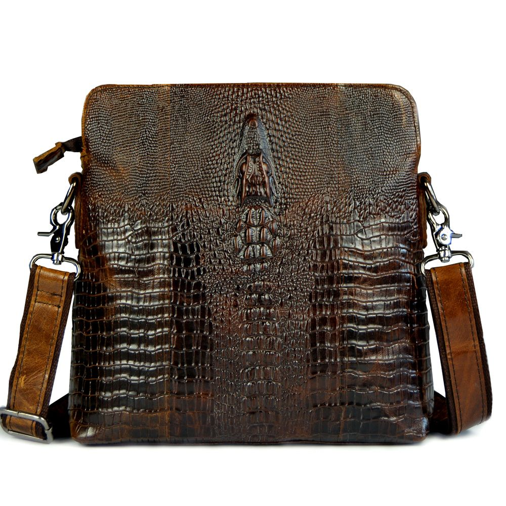2015 HOT Crocodile pattern genuine leather small messenger bags for men crossbody shoulder bag male cowhide crocodilian handbags