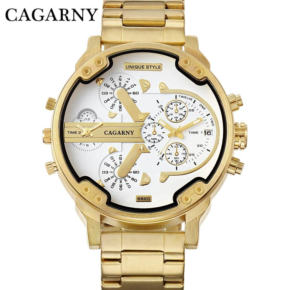 CAGARNY marque montre de luxe hommes Bracelet en acier or Bracelet montres à Quartz de bonne qualité montres hommes marque de mode NATATE