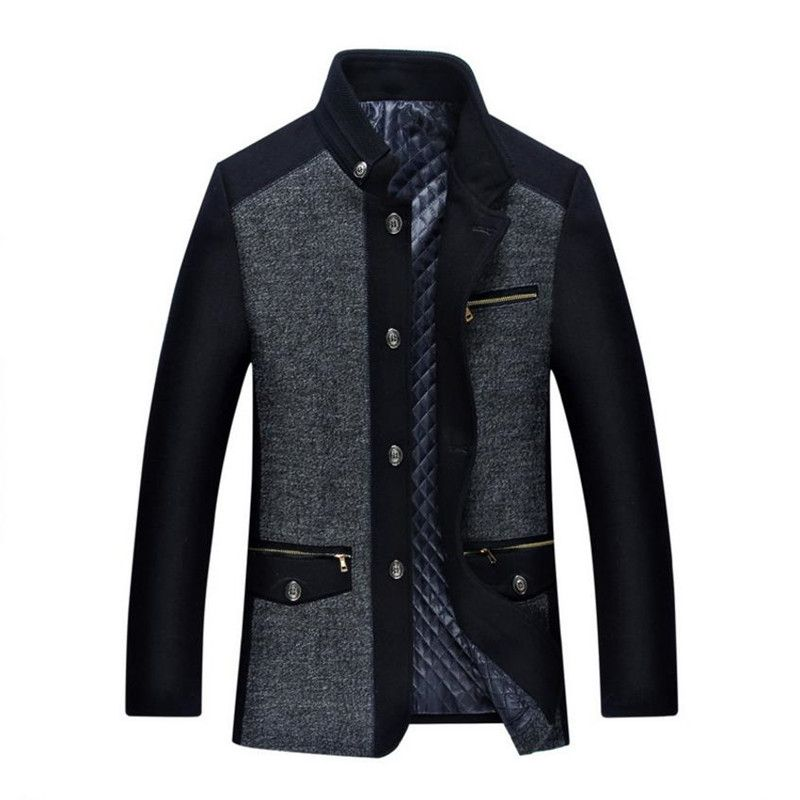 Men's Winter Jacket  New Fashion Personality Wool Mens Jacket Men Plus cotton Coat Business Casual Overcoat