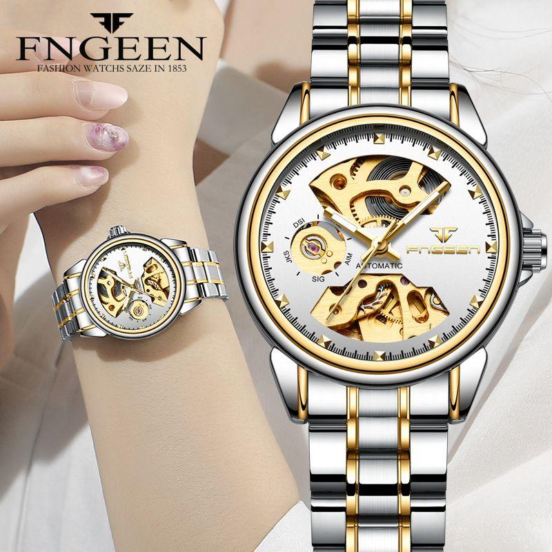 Neue Mode Frauen Mechanische Uhr Skeleton Design Top Marke Luxus Voller Stahl Wasserdicht Weibliche Automatische Uhr Montre Femme