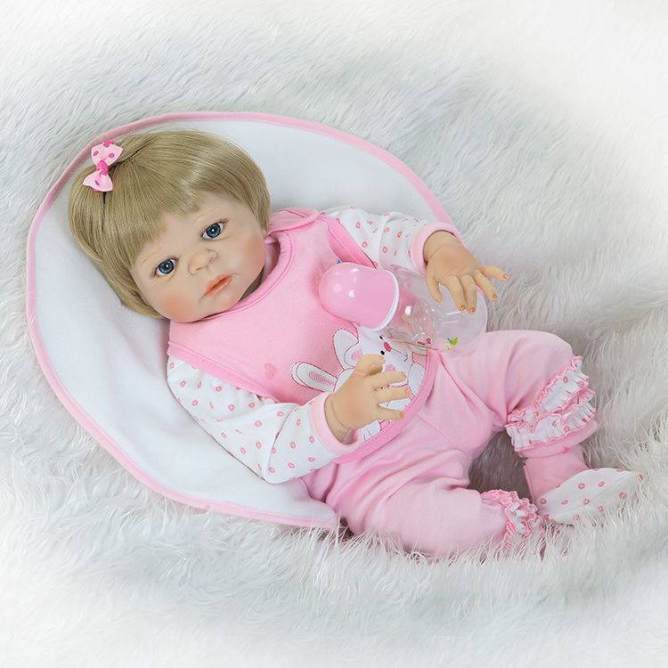55cm Full Silicone Reborn Baby Doll Toy Newborn Girl Babies Doll Lovely Birthday Gift Fashion Play House Bathe Toy Girl Brinqued