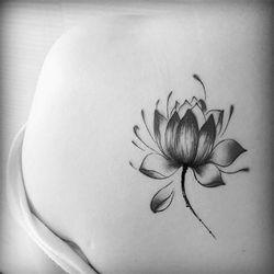 Wanita bunga Teratai tato hitam stiker Tahan Air Bunga Teratai Stiker Tato Sementara Temporary Body Art Tattoo Waterproof