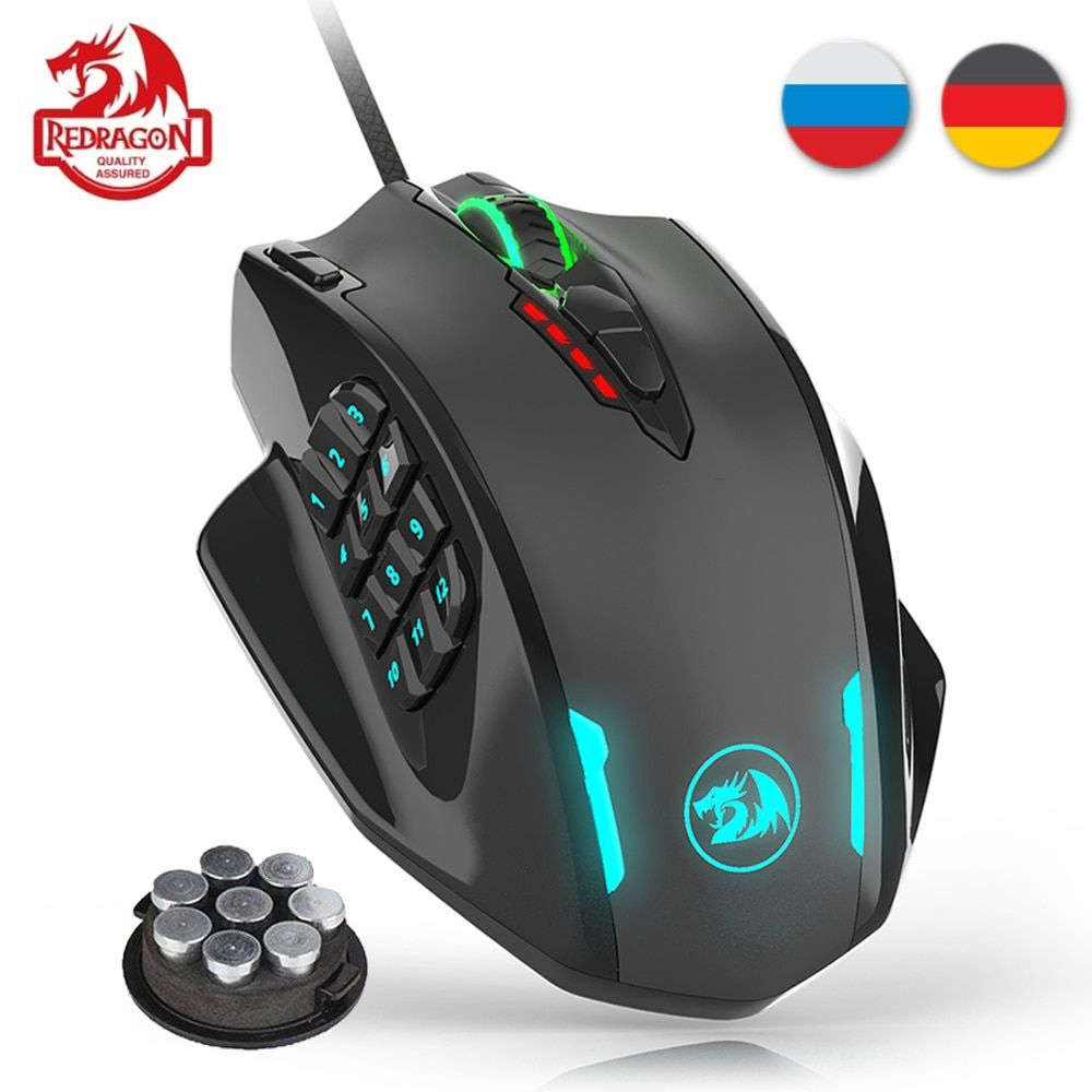 Redragon M908 12400 DPI IMPACT souris de jeu 19 boutons programmables rvb LED Laser filaire souris MMO haute précision souris PC Gamer