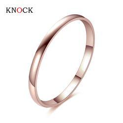 KNOCK Titan Stahl Rose Gold Anti-allergie Glatte Einfache Hochzeit Paare Ringe Bijouterie für Mann oder Frau Geschenk