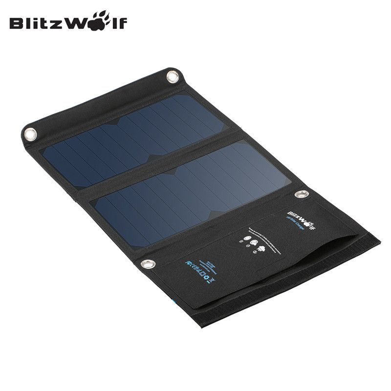 BlitzWolf Original 15W 2A Foldable Portable Dual USB SunPower Solar Cell Panel Charger Power Bank For iPhone For Smartphone