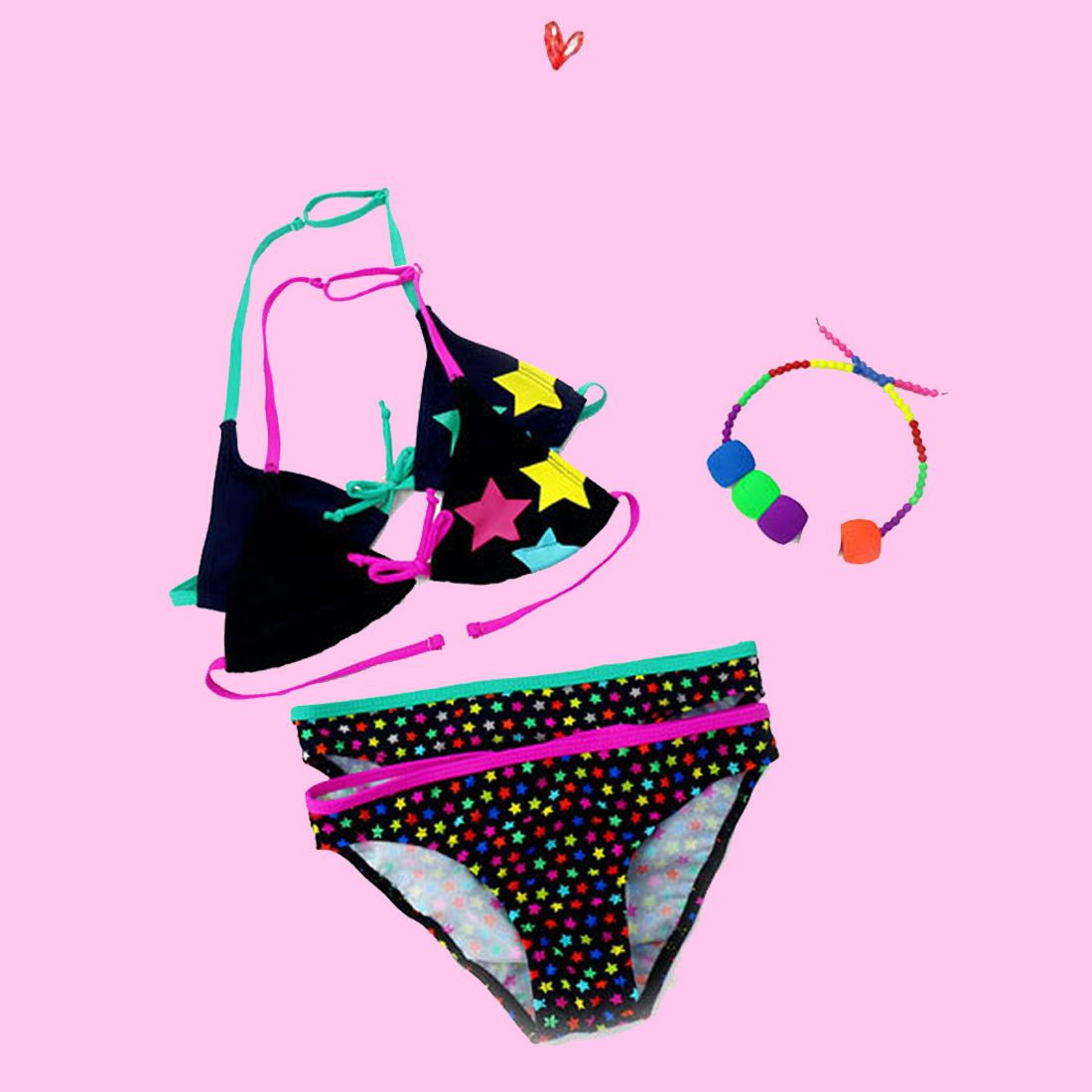 2017 neue Sommer Badeanzug Mädchen split Zwei stücke Bademode, kinder Nette Stern Muster Split Bikini Mädchen Badeanzug Großhandel