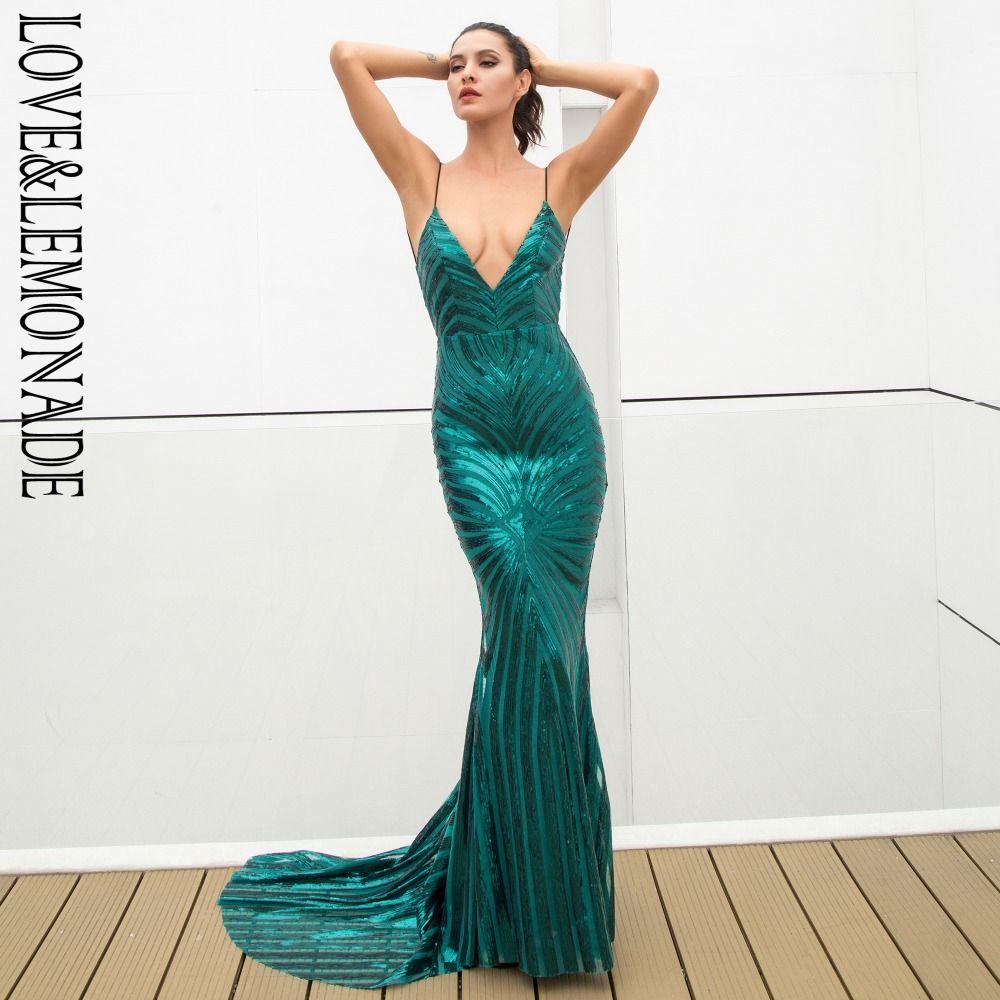 Love&Lemonade Sexy Green Deep V Neck Open Back Geometry Sequins Long Dress LM1296