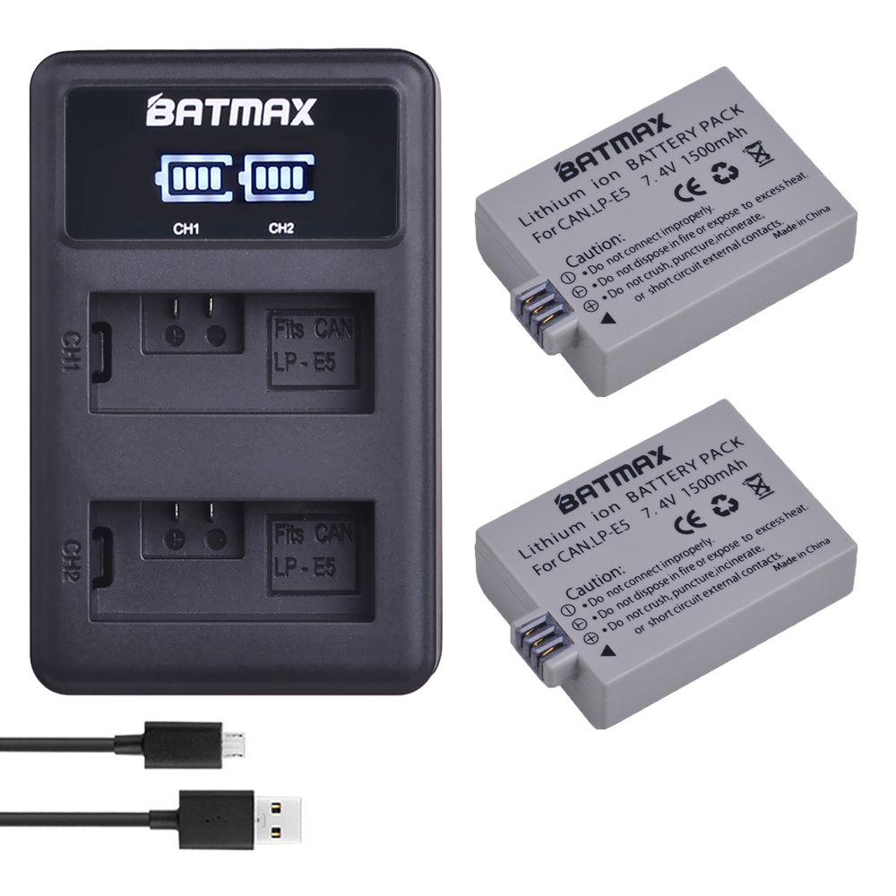 2 pièces 1500mAh LPE5 LP-E5 LP E5 batterie + LED USB double chargeur pour Canon EOS rebelle XS, rebelle T1i, rebelle XSi, 1000D, 500D, 450D, Ki