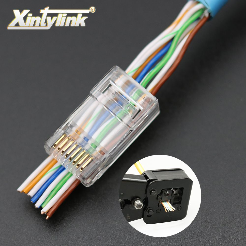 xintylink EZ rj45 connector ethernet cable plug cat6 network 8P8C gold plated unshielded modular utp terminals have hole 50pcs