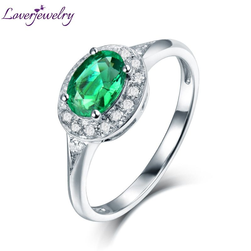 Natural Emerald Anniversary Rings Real Solid 14Kt White Gold Bling Diamond for Couple Christmas Fine Jewelry Loving Gift