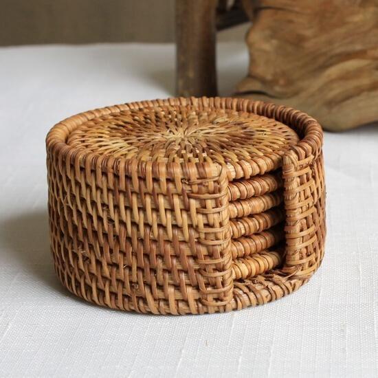 Rotin Dessous de Cup Set Pot Pad Table Tapis 6 Tailles Porta Copos Napperons Décoration de La Maison Vintage À La Main En Bambou