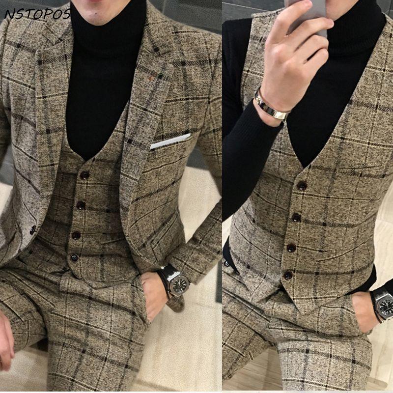 3 Stück Tweed Anzug Männer Plaid Blazer 4XL 5XL Khaki Grau blau Schwarz Bräutigam Hochzeitskleid Anzug Kostüm Homme Ternos Slim Fit