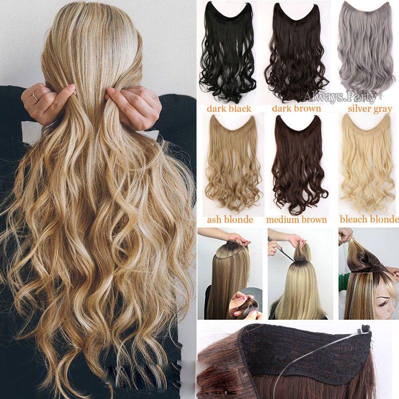 S-noilite longs cheveux synthétiques postiche résistant à la chaleur ligne de poisson Extensions de cheveux ondulés Secret Invisible postiches brun blond