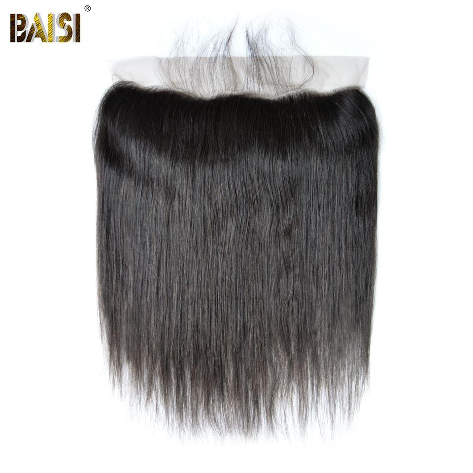 BAISI Péruvienne Vierge Cheveux dentelle Frontale Droite Frontale taille 13*4 Plissé Naturel Délié