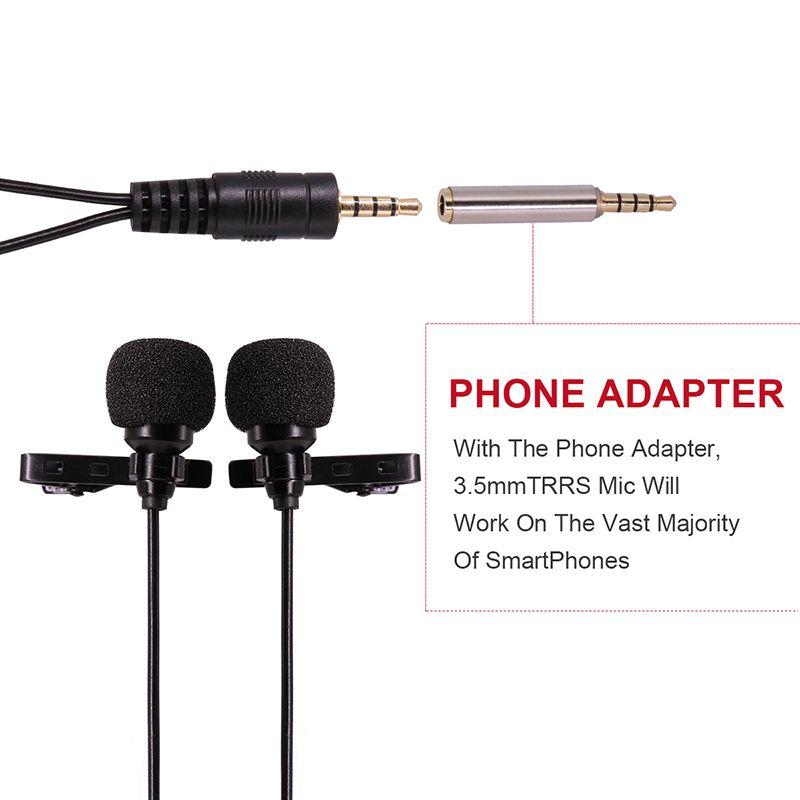 UlanzI Double-Tête Cravate Revers Clip-sur Omnidirectionnel Microphone À Condensateur pour Entrevue Conférence pour iPhone Android PC