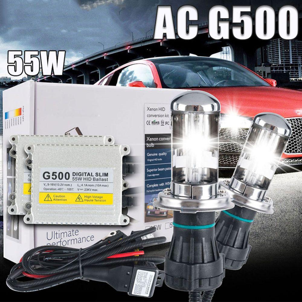 One set Xenon h4 bixenon hid kit AC 12V 55W H4 Bi xenon lamp H4 Hi/lo beam bulb 4300k 5000k 6000k 8000k