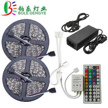 LED Light Strip SMD 5050 RGB LED Bande 12 V 30 leds/m Bande Flexible Imperméable À L'eau Ruban Chaîne + RGB LED Contrôleur + 12 V Power Adapter
