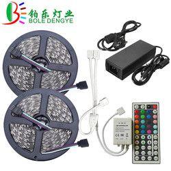LED Strip Light SMD 5050 RGB LED Strip 12V 30leds/m Waterproof Flexible Tape Ribbon String+RGB LED Controller+12V Power Adapter