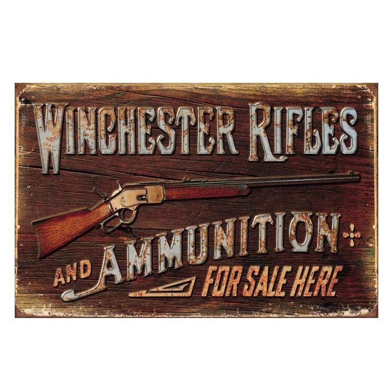 Rifles Winchester para la venta aquí. vintage carteles de chapa retro placa de metal de la pared decoración para bar cafetería garaje